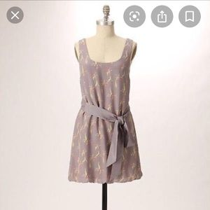 Anthropologie Partimi Grey Silk Dress Belted Tunic